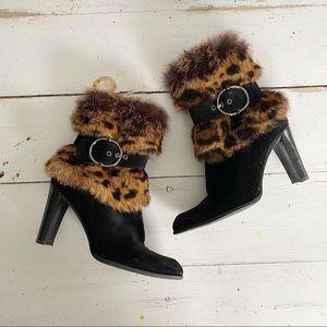 Stuart Weitzman Leo Fur Ankle Boots Leopard